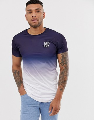 SikSilk muscle t-shirt in faded navy-Blue