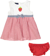 Sweet & Soft Red Strawberry Seersucker A-Line Dress & Diaper Cover