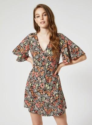 Miss Selfridge Peach Cluster Floral Print Mini Dress