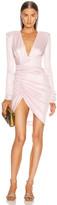 Alexandre Vauthier Lame Rib Jersey Mini Dress in Pink   FWRD