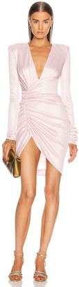 Alexandre Vauthier Lame Rib Jersey Mini Dress in Pink | FWRD