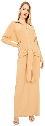 KAMALIKULTURE by Norma Kamali Ty Front Neck Shirtdress To Midcalf (Nude) Women's Clothing
