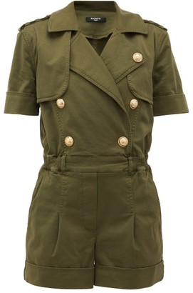 Balmain Double-breasted Cotton-blend Military Playsuit - Khaki