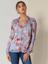 Forever New Mischa Shirred Blouse - Dusty Amethyst Bloom - 10