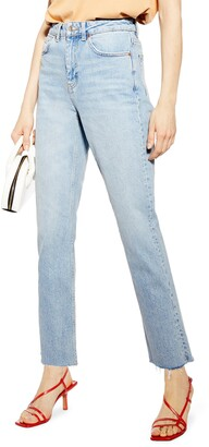 Topshop High Waist Raw Hem Straight Leg Jeans