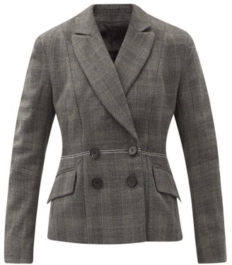 Ssōne Ssone - Lyre Prince Of Wales-check Wool Suit Jacket - Grey