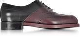 Pierre Hardy Twin Perfo Black & Burgundy Leather Oxford Shoe