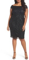 Adrianna Papell Embellished Off the Shoulder Cocktail Dress (Plus Size)