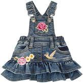 MonnaLisa Embroidered jean dungaree dress