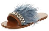 Miu Miu Embellished Feather Slip-On Sandal