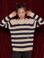 Turtleneck Stripe Wool Knit (ivory/navy)