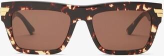 Bottega Veneta Rectangular Tortoiseshell-acetate Sunglasses - Tortoiseshell