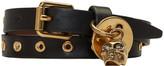 Alexander McQueen Black Studded Skull Double Wrap Bracelet
