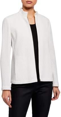 Eileen Fisher Honeycomb Stand Collar Zip-Front Jacket