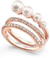 INC International Concepts I.N.C. Rose Gold-Tone Pavé & Imitation Pearl Wrap Ring, Created for Macy's