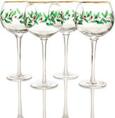 Lenox Set of 4 Holiday Decal Balloon Wine Glasses