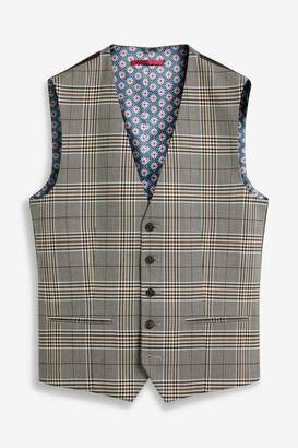 Next Mens Taupe/Brown Check Suit: Waistcoat - Brown