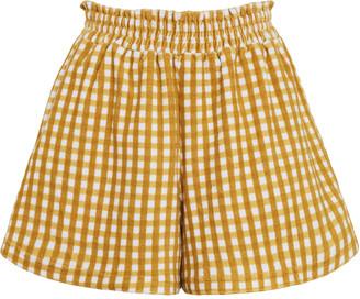 Faithfull The Brand Reggie Mari Check Print Cotton Mini Shorts