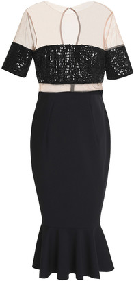 Rachel Gilbert Fluted Embellished Tulle And Stretch-ponte Midi Dress
