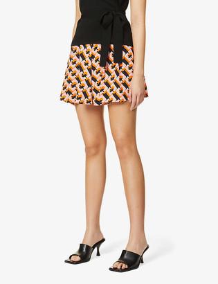 Diane von Furstenberg Jaxon graphic-pattern high-rise silk-crepe shorts
