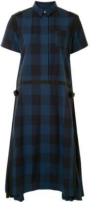 Sacai Check-Print Short-Sleeved Dress