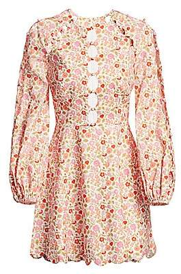 Zimmermann Women's Goldie Scalloped Floral Puff-Sleeve Mini Dress