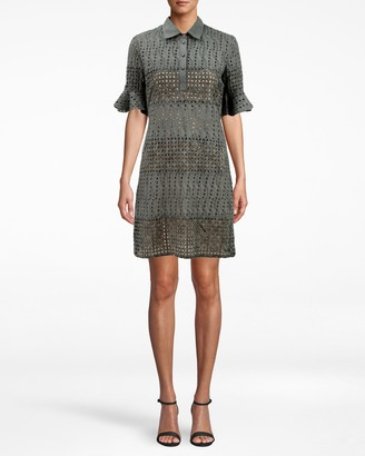 Nicole Miller Beaded Eyelet Bell Sleeve Shirt Dress