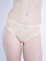 Wacoal Ãclat embroidered stretch-tulle and satin bikini briefs