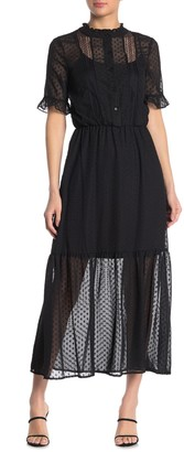 Kensie Swiss Dot Elbow Sleeve Maxi Dress