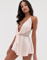 Asos DESIGN satin bow front romper with lace
