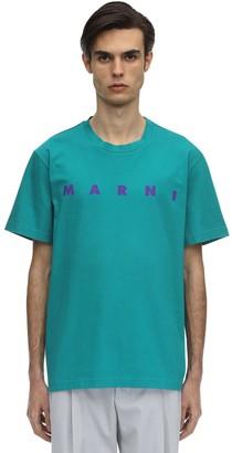 Marni Logo Printed Cotton Jersey T-shirt
