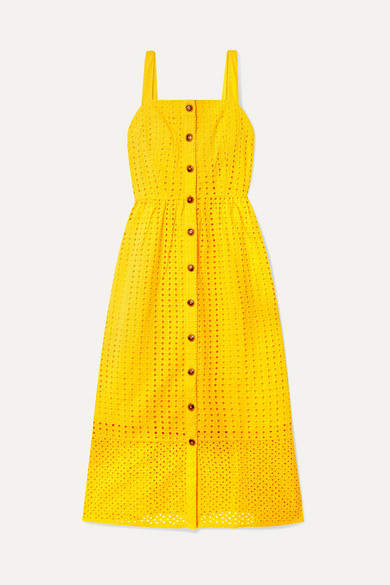 J.Crew Coletta Broderie Anglaise Cotton-voile Midi Dress - Yellow