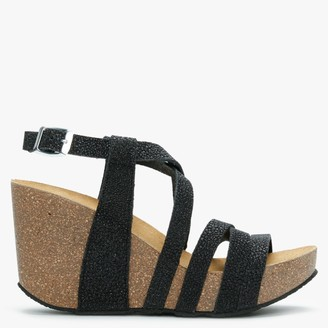Daniel Beverlywood II Black Metallic Textured Wedge Sandals