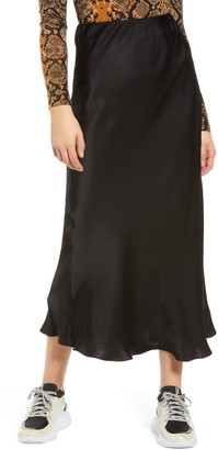 Grey Lab Bias Cut Satin Skirt