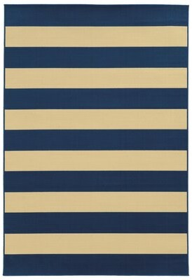 """Andover Mills Alford Striped Blue/Ivory Indoor / Outdoor Area Rug Rug Size: Rectangle 1'9"""" x 3'9"""""""