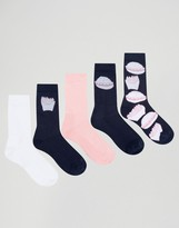 Asos Tube Style Socks With Fast Food Design 5 Pack