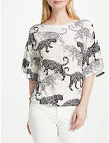 Oui Cat Print Top, Off White/Grey