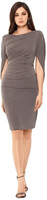 Betsy & Adam Short Rouched Metallic Knit Drape Back Sleeve (Taupe/Silver) Women's Dress