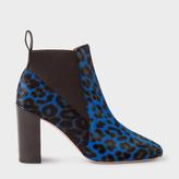 Paul Smith Women's Blue Leopard Print Calf Hair 'Shawna' Boots