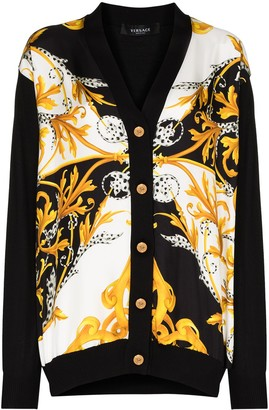 Versace Baroque-print buttoned cardigan