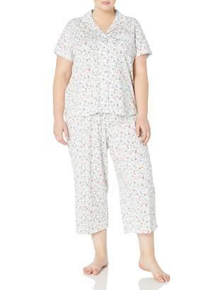 Karen Neuburger Women's Plus Size Short-Sleeve Floral Girlfriend Crop Pajama Set