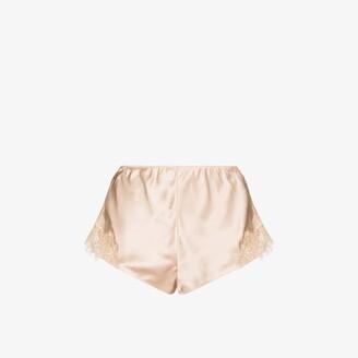 Sainted Sisters Scarlett lace trim silk shorts