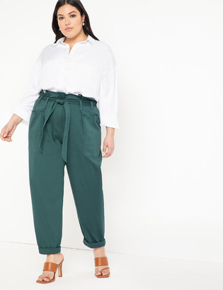 ELOQUII Cinched Waist Pant with Roll Cuff