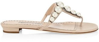 Manolo Blahnik Perlosa Faux Pearl-Embellished Leather Thong Sandals