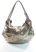 Donna Karan Gold Leather Crackle Detail Tote Shoulder Handbag Size Extra Large