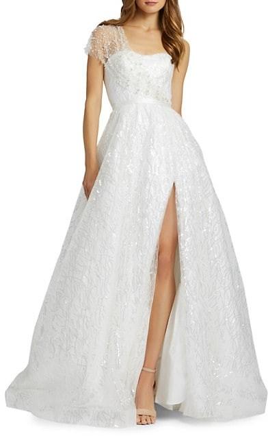 Mac Duggal Embellished One-Shoulder Sequined Gown
