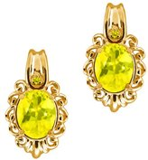 Gem Stone King 3.22 Ct Oval Mystic Topaz and Diamond 18k Yellow Gold Earrings