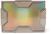 Lee Savage Space Holographic Leather And Gunmetal-tone Clutch - Silver