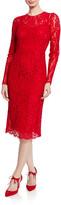 Dolce & Gabbana Long-Sleeve Floral-Lace Midi Dress