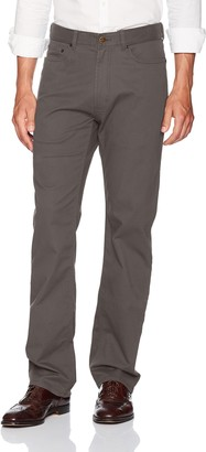Haggar Men's Stretch Comfort Twill Expandable Waist 5-Pocket Relaxed Fit